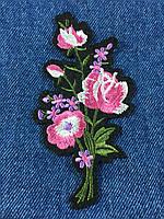 Нашивка букет цветов 10 бутонов 58x110мм