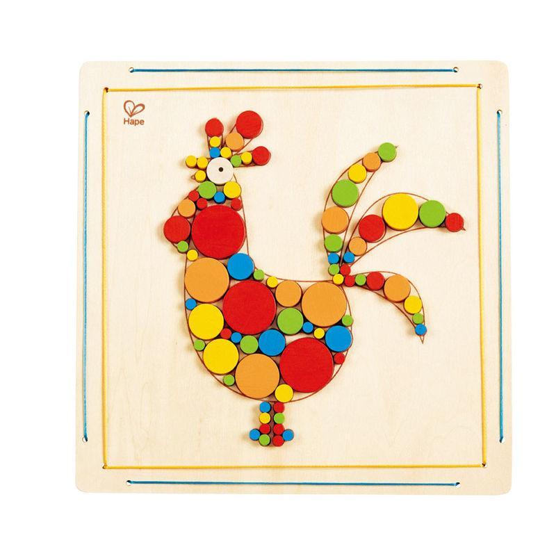 """Мозаика для раскрашивания Hape Петушок (E5129) - Интернет-магазин игрушек """"Parktoys-парк игрушек"""" в Днепре"""