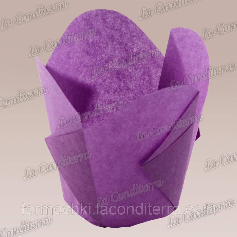 """Бумажные формочки для кексов """"Фиалка"""", пурпурные (150 шт., d=35 мм, высота бортика=35/45 мм)"""