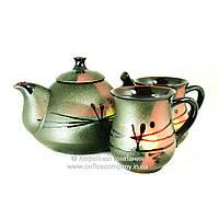 Чайный набор чайник заварочный феншуй 800мл чашки 2*200мл керамические ручная роспись Восход 9477