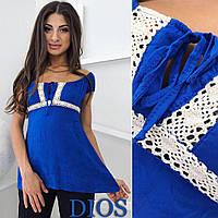 Женская блузка Жакард электрик с кружевом