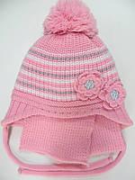 Шапка с шарфом на флисе для девочки 3-5 лет