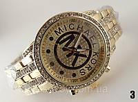 Часы женские Michael Kors золотой корпус и циферблат, кристаллы и МК, фото 1
