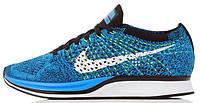 Мужские спортивные кроссовки Nike Flyknit Racer Blue White Black (Найк Флайнит) синие