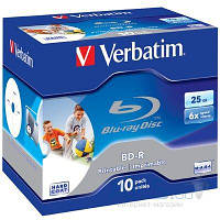 Диск Verbatim BD-R 25Gb 6x Jewel 10шт Printable (43713)