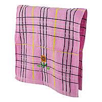 Махровое кухонное полотенце Подсолнух розовое