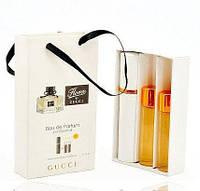 Парфюмерный набор 3в1 в сумочке Gucci Flora by Gucci (Гуччи Флора Бай Гуччи) с феромонами + 2 запаски, 3x15 мл