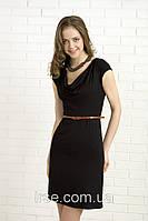 Летнее женское платье черного цвета с коротким рукавом и пояском в комплекте. Модель 325 Mirabelle