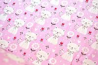 """Польская хлопковая ткань """"Коты белые с цветками на розовом"""""""