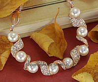 Прекрасный кулон - ожерелье с кристаллами Swarovski и жемчугом, покрытый слоями золота  (307370)