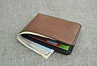 Небольшой бумажник из натуральной кожи коричнево-черного цвета ручной работы