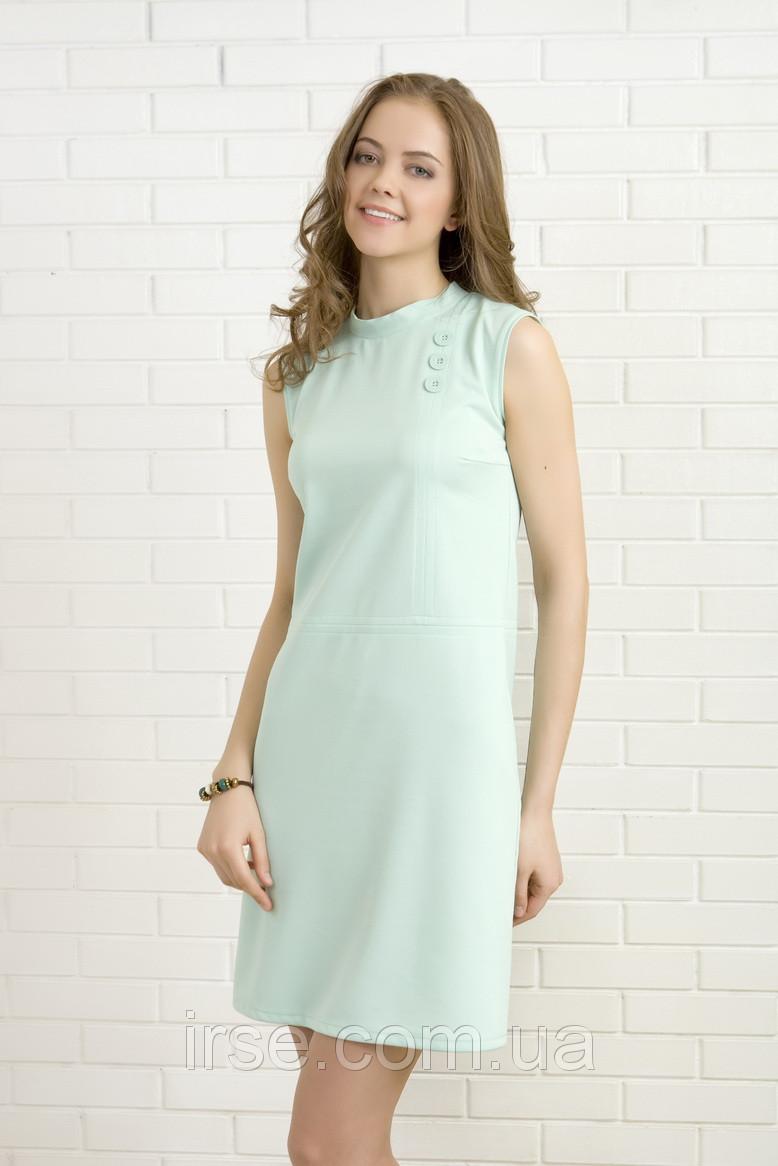 0cdd8c1fe28 Летнее женское платье мятного цвета без рукава с воротником стойка. Модель  327 Mirabelle - Irse
