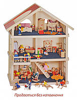 Кукольный домик 3 этажа Goki , деревянный домик для кукол