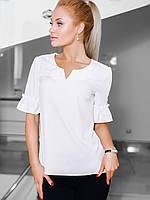 Жіноча однотонна біла блузка Nina (S, M, L, XL)