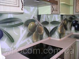 Кухонный фартук из стекла рисунок оливки