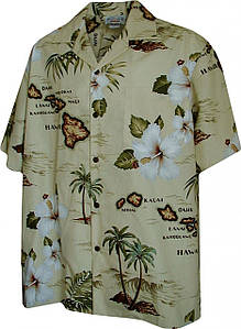 Рубашка гавайка Pacific Legend 410-3614 khaki