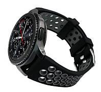 Спортивный ремешок с перфорацией для часов Samsung Gear S3 Classic SM-R770 / Frontier RM-760 Black&Grey, фото 1