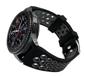 Спортивний ремінець з перфорацією Primo для годин Samsung Gear S3 Classic SM-R770 / Frontier RM-760 Black&Grey