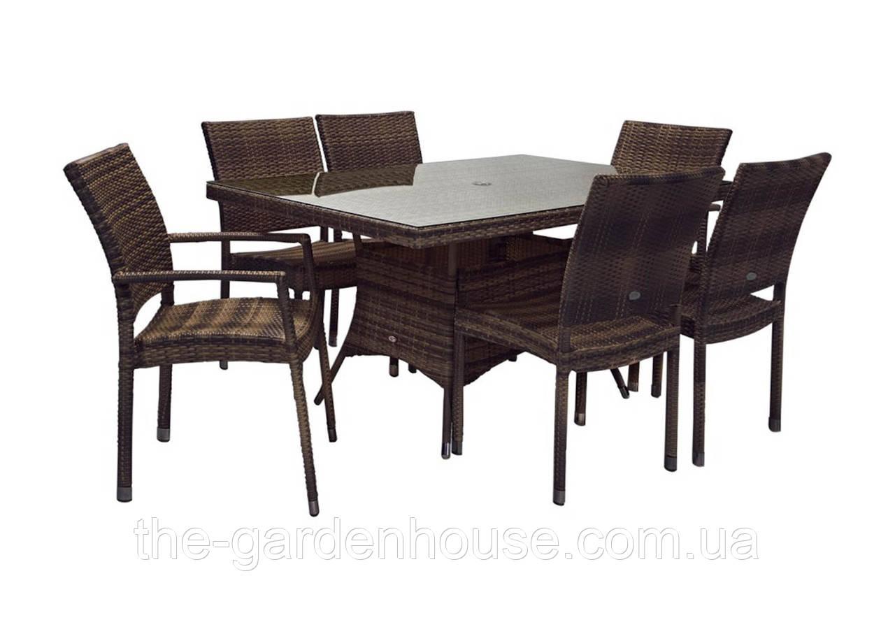 Обеденный комплект Wicker из искусственного ротанга: стол 150 см и 6 стульев коричневый