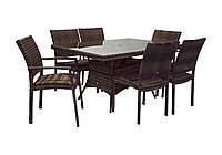 Обеденный комплект Wicker из искусственного ротанга: стол 150 см и 6 стульев коричневый, фото 1