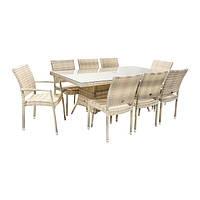 Обеденный комплект Wicker из искусственного ротанга: стол 150 см и 6 стульев светло-бежевый