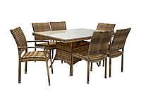 Обеденный комплект Wicker из искусственного ротанга: стол 150 см и 6 стульев капучино, фото 1