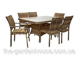 Обеденный комплект Wicker из искусственного ротанга: стол 150 см и 6 стульев капучино