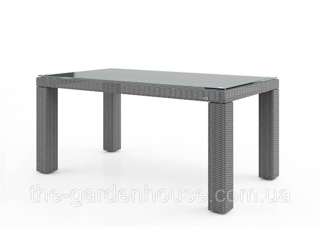 Стол обеденный Rapallo Royal из искусственного ротанга 160 см серый