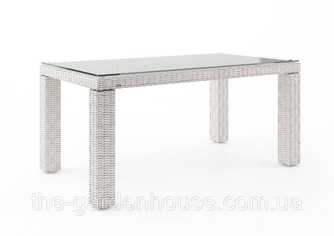 Стол обеденный Rapallo Royal из искусственного ротанга 160 см белый