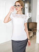 Жіноча біла блузка з гіпюром Whity