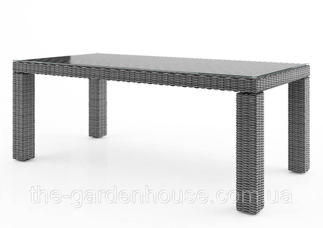 Садовый стол Rapallo Royal из искусственного ротанга 200 см серый, фото 1