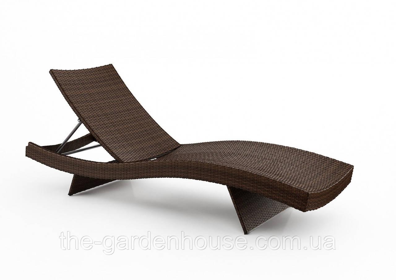 Лежак Mara Modern из искусственного ротанга коричневый, фото 1