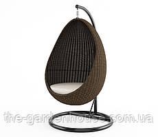 Подвесное кресло-качели Kokon Royal из искусственного ротанга коричневое
