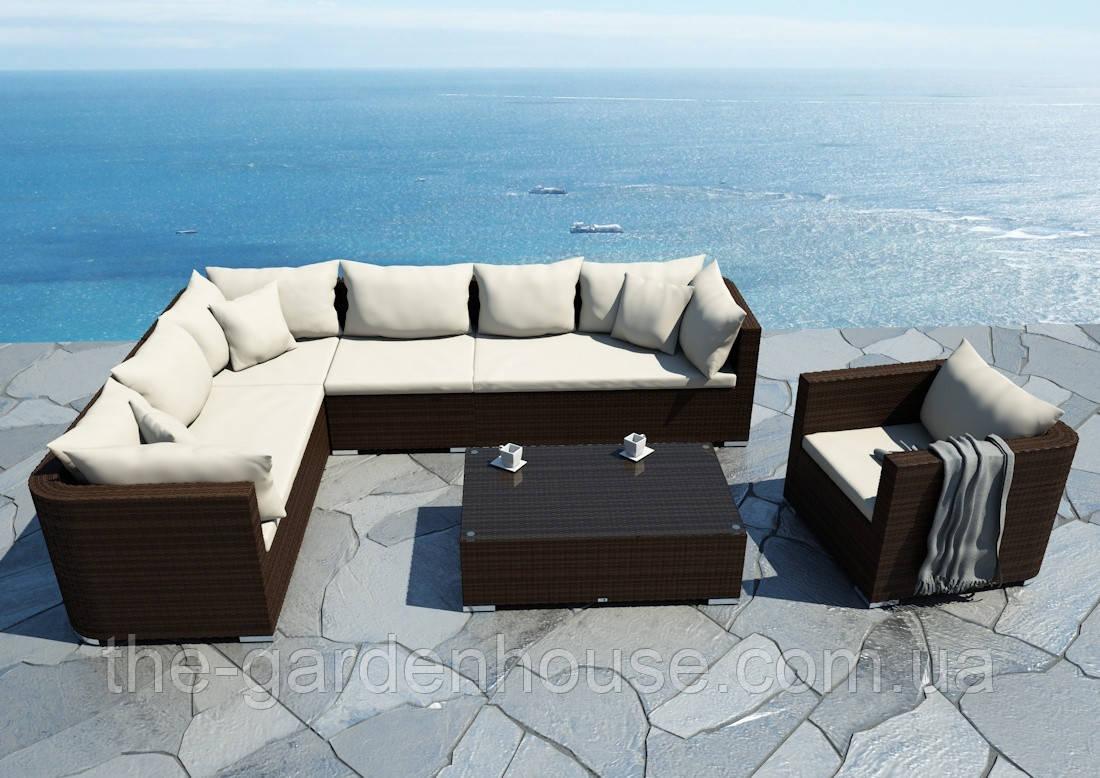Модульний садовий набір меблів Venezia Modern з техноротангу коричневий