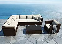 Модульний садовий набір меблів Venezia Modern з техноротангу коричневий, фото 1