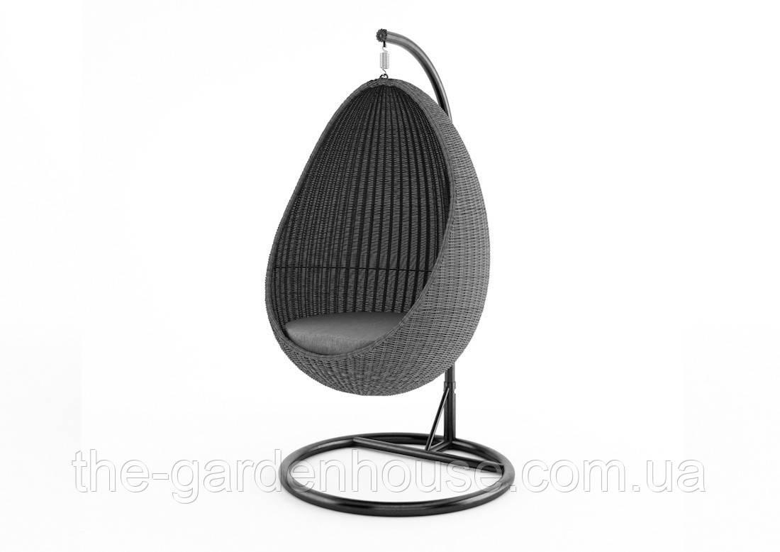 Подвесное кресло-качели Kokon Royal из искусственного ротанга серое