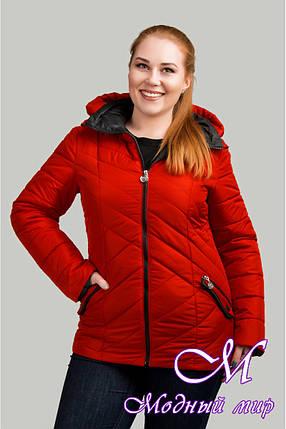 Женская красная осенняя куртка батал (р. 50-62) арт. Соня, фото 2