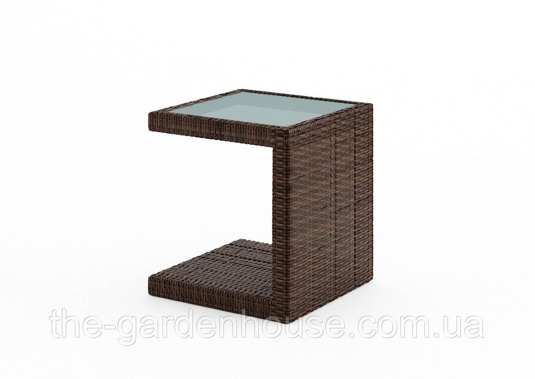 Столик к шезлонгу Romeo из искусственного ротанга со стеклом коричневый