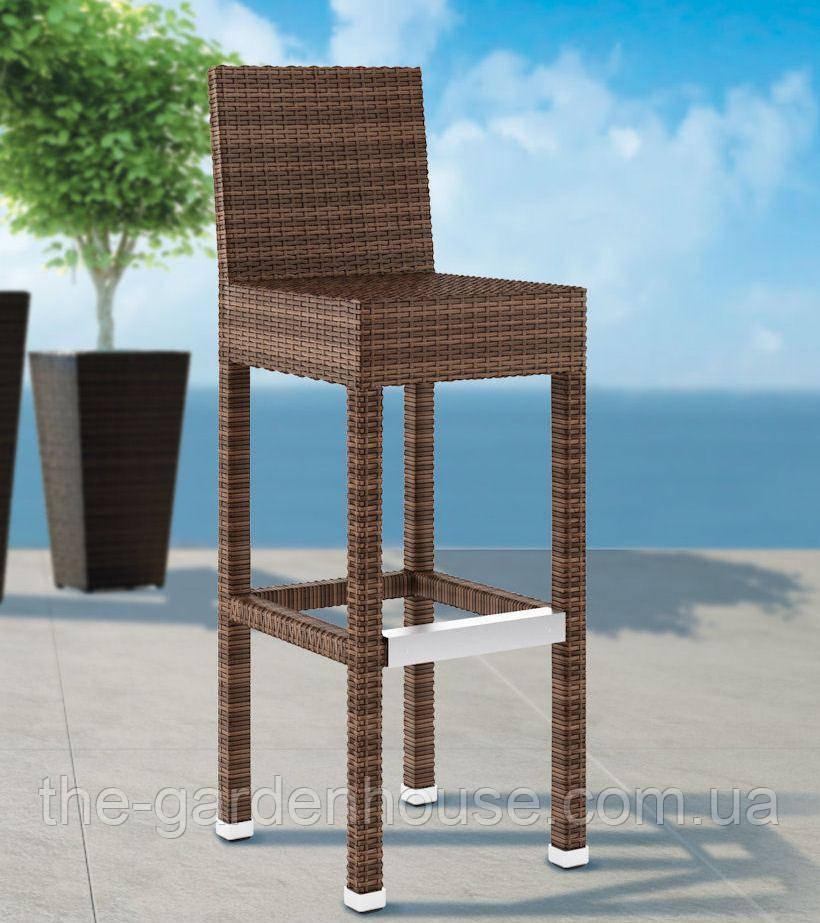 Барний стілець Sondrio Modern з штучного ротанга коричневий