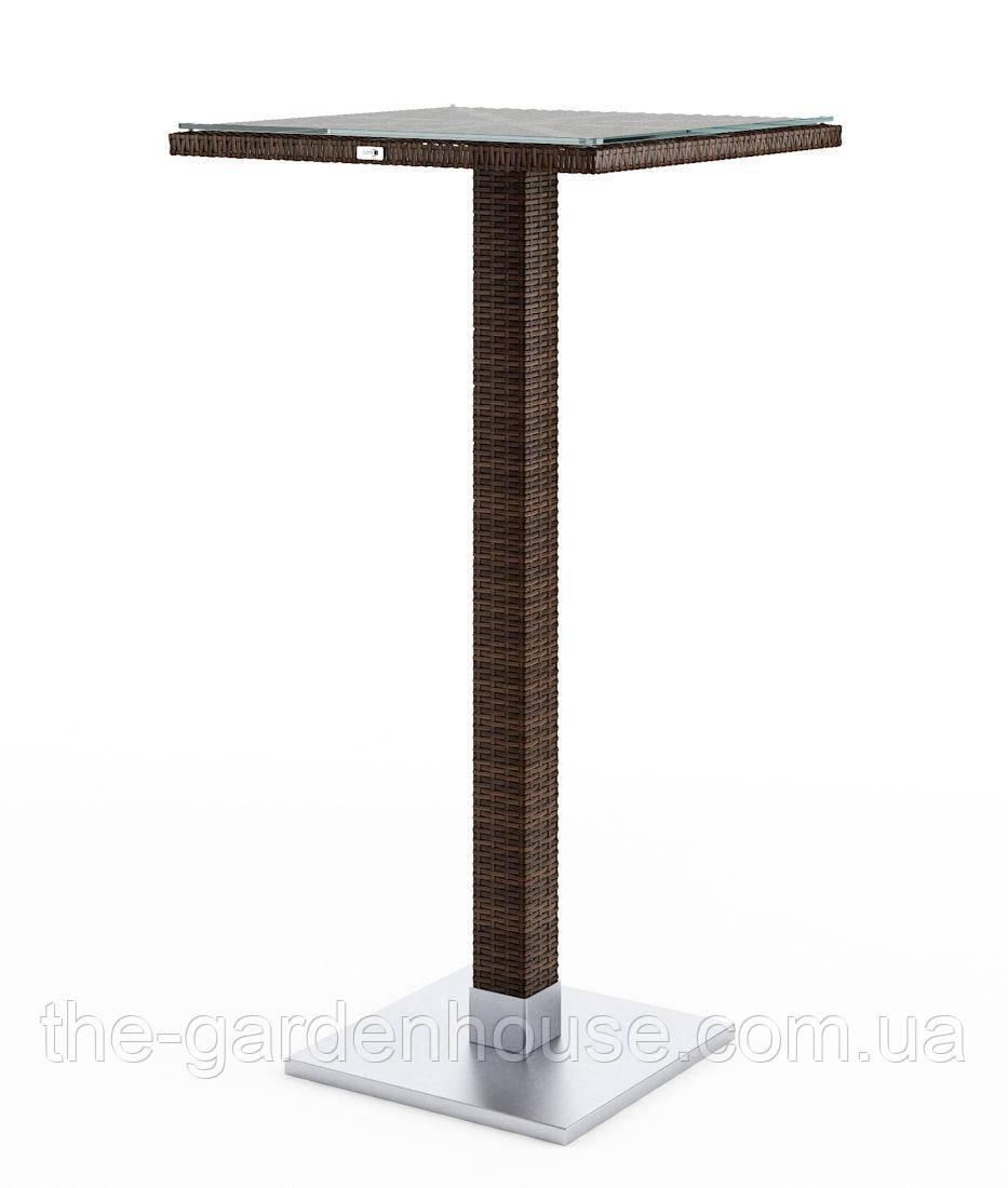 Барный столик Quadro Modern из искусственного ротанга коричневый