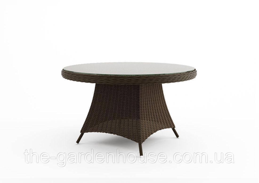 Обеденный стол Rondo Royal из техноротанга Ø 130 см коричневый