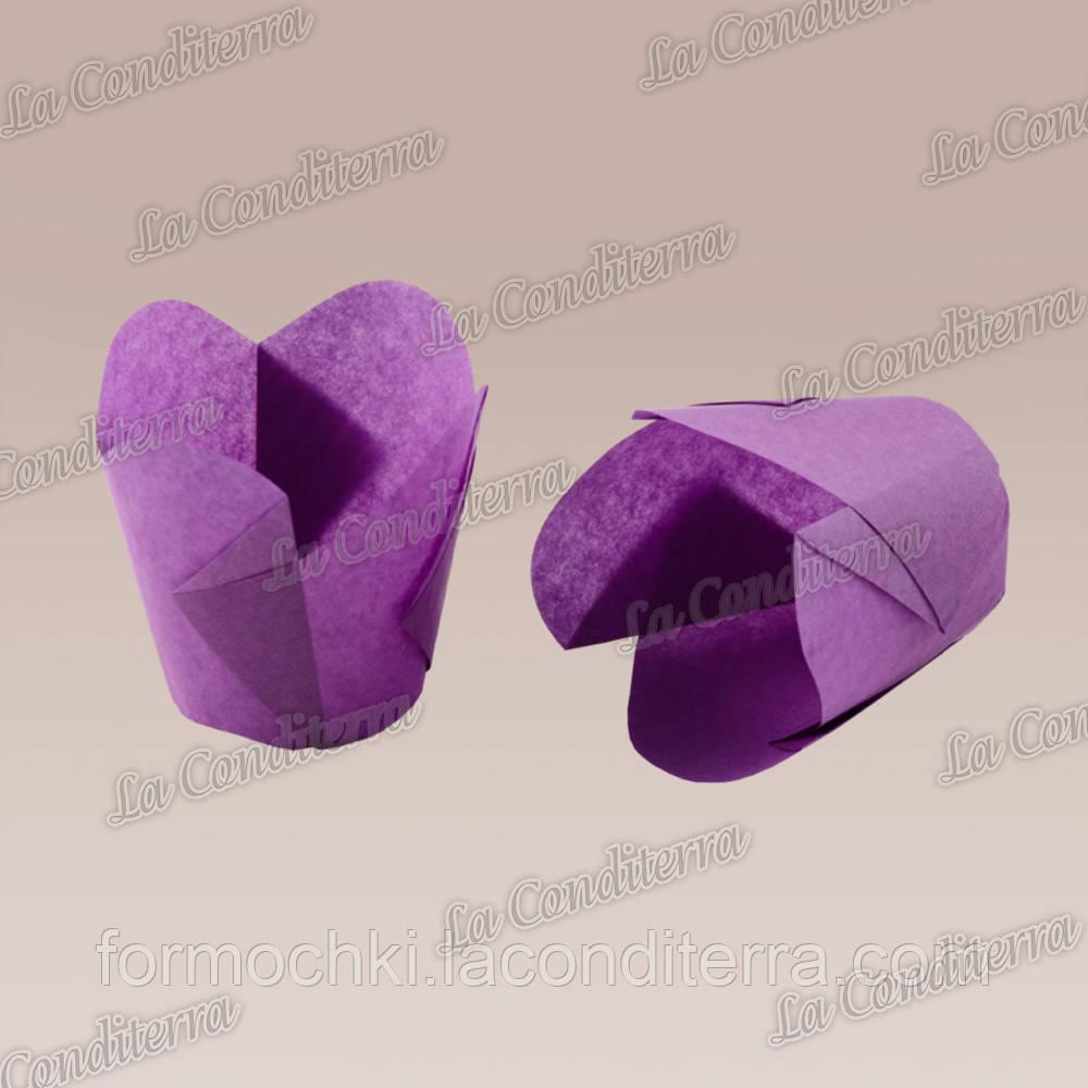 """Бумажные формочки для кексов """"Фиалка"""", пурпурные (150 шт., d=50 мм, высота бортика=60/70 мм)"""