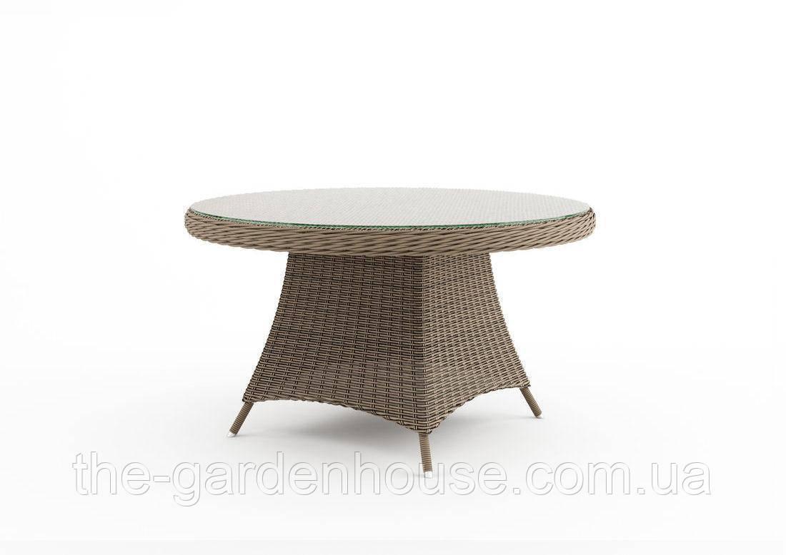 Обеденный стол Rondo Royal из техноротанга Ø 130 см бежевый