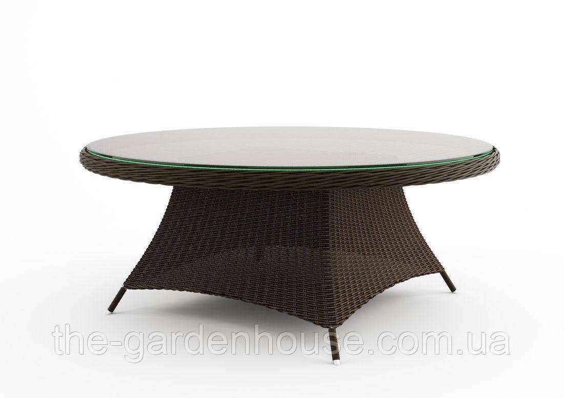 Обеденный стол Rondo Royal из искусственного ротанга Ø 180 см коричневый
