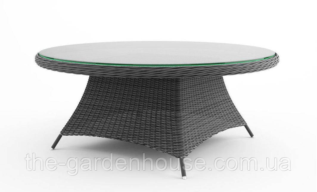 Обеденный стол Rondo Royal из искусственного ротанга Ø 180 см серый
