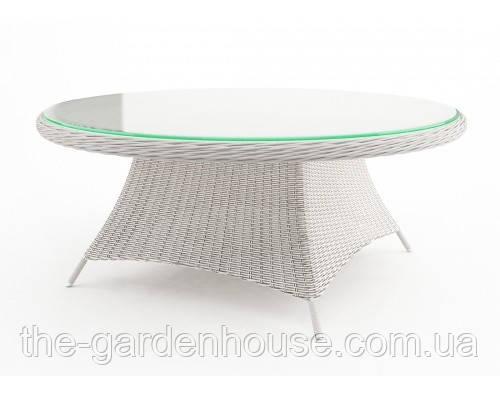 Обеденный стол Rondo Royal из искусственного ротанга Ø 180 см белый