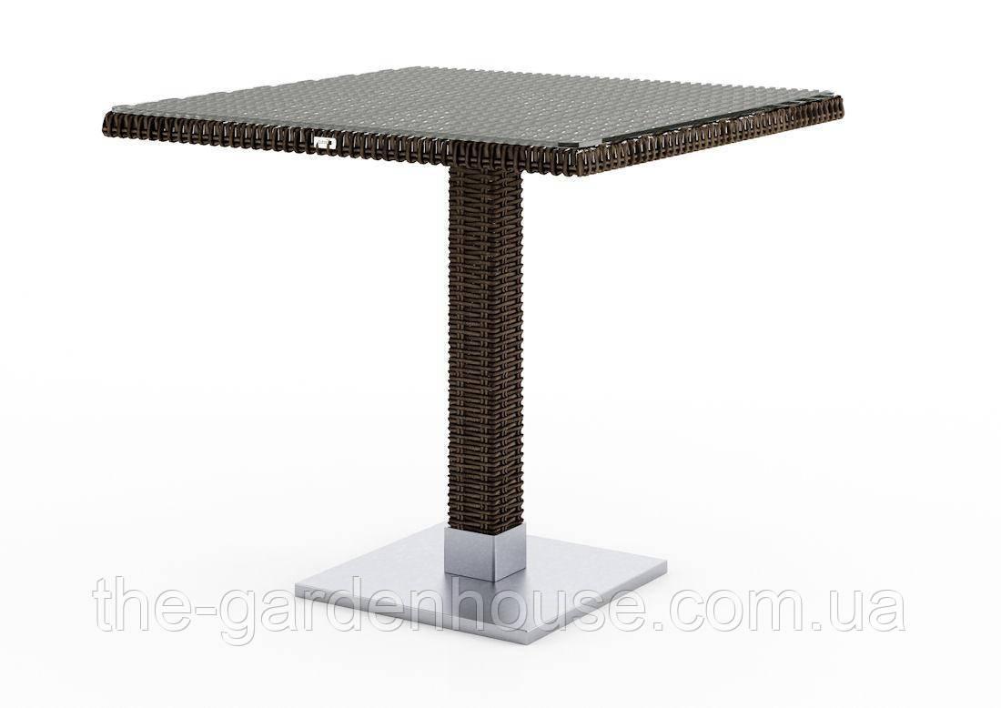 Стіл Quadro Royal з штучного ротанга 80х80 см коричневий