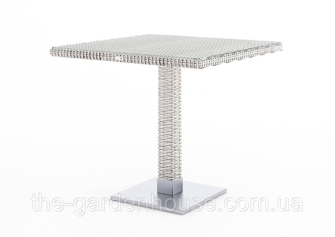 Стол Quadro Royal из искусственного ротанга 80х80 см белый, фото 1