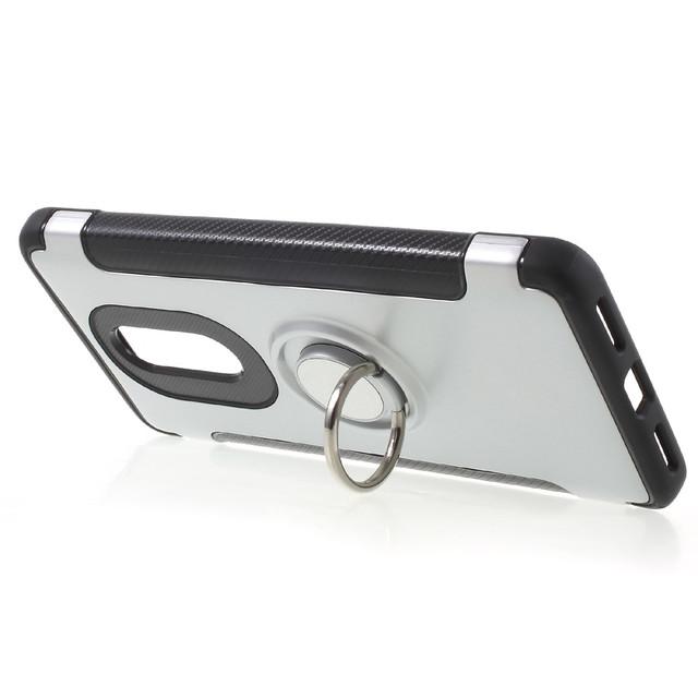 чехол Xiaomi Redmi Note 4X противоударный с кольцом серебристый