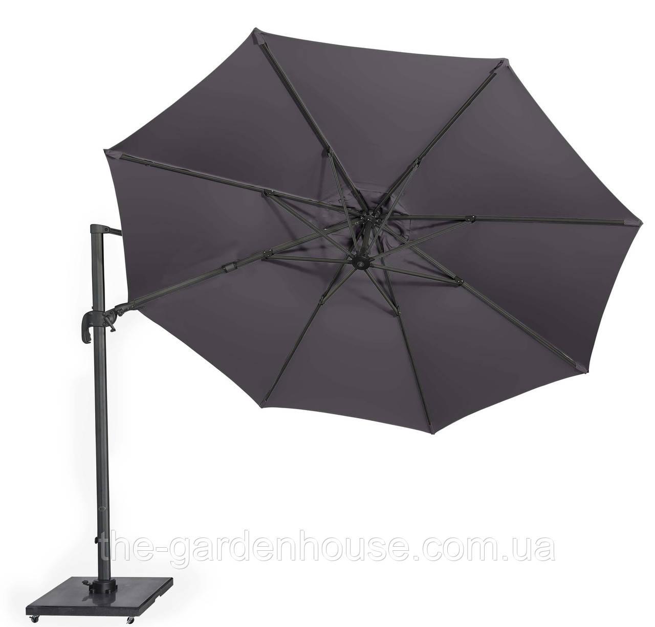 Садовый зонт с подсветкой Solarflex T2 Ø3,5 м  + подставка антрацит